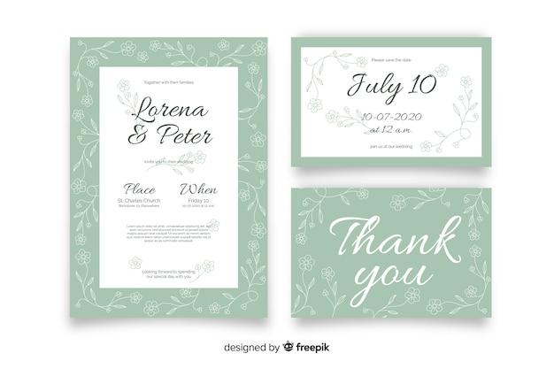 Hand getrokken floral bruiloft briefpapier sjabloon Gratis Vector