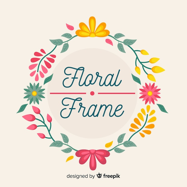 Hand getrokken floral frame achtergrond Gratis Vector