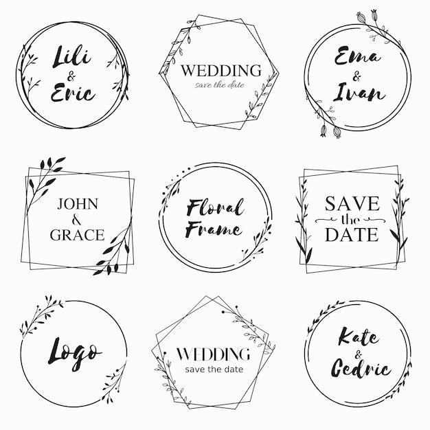 Hand getrokken floral frame collectie voor bruiloft uitnodiging kaart ontwerp Premium Vector