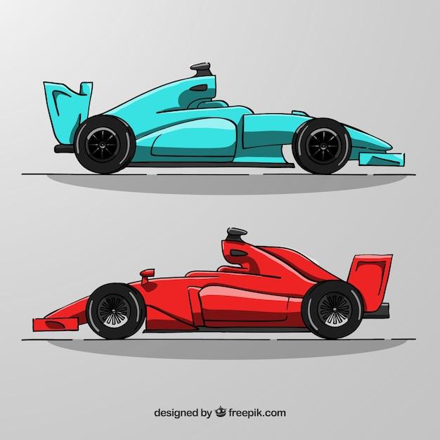 Hand getrokken formule 1 raceauto's Gratis Vector