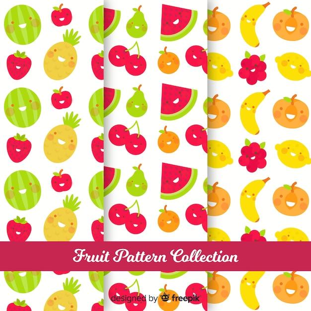 Hand getrokken fruit patrooninzameling Gratis Vector