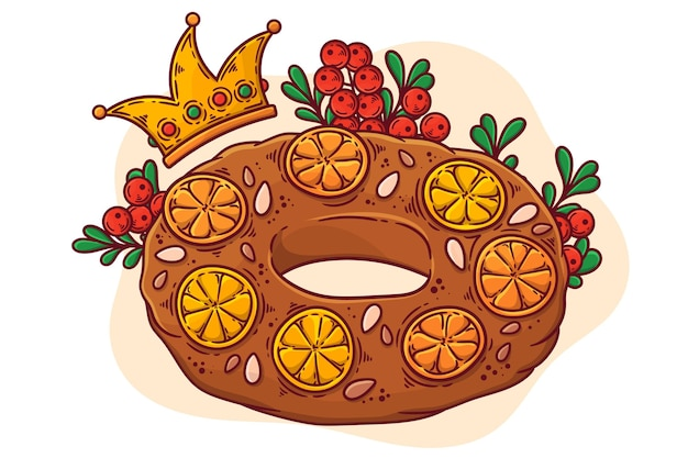 Hand getrokken geïllustreerde roscon de reyes Premium Vector