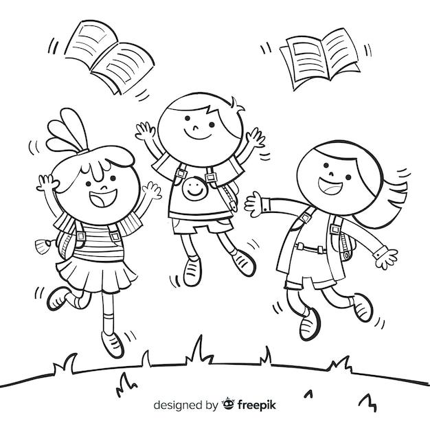Hand getrokken gelukkige schoolkinderen Gratis Vector
