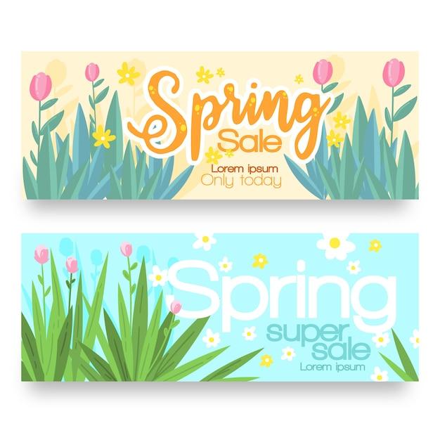 Hand getrokken geplaatste banners van de de lenteverkoop Gratis Vector