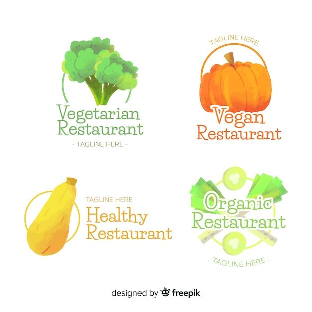 Hand getrokken gezond voedsel logo-collectie Gratis Vector