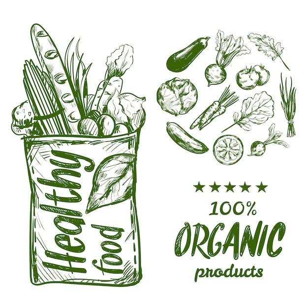 Hand getrokken gezond voedsel tas Gratis Vector