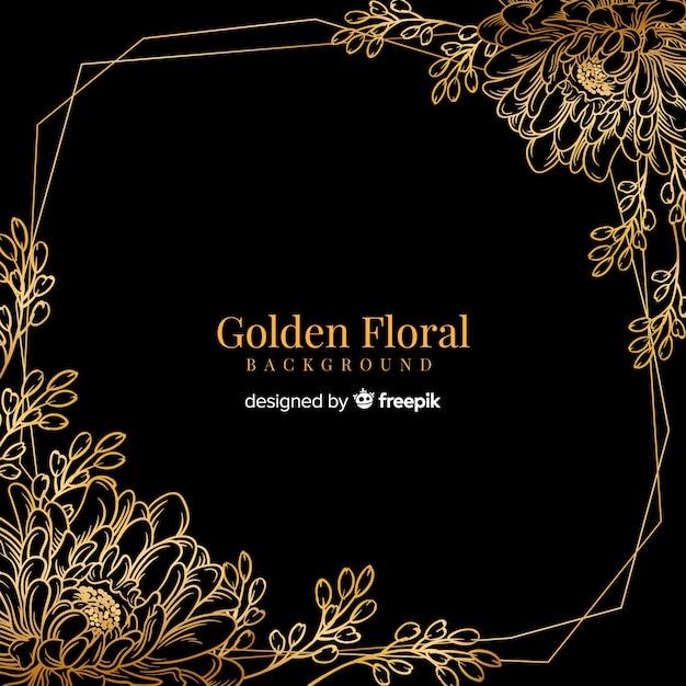 Hand getrokken gouden bloemenachtergrond Gratis Vector