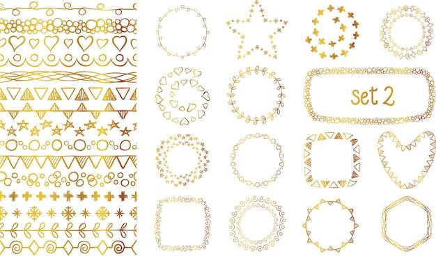 Hand getrokken gouden gradiënt decoratieve borstels instellen. Premium Vector