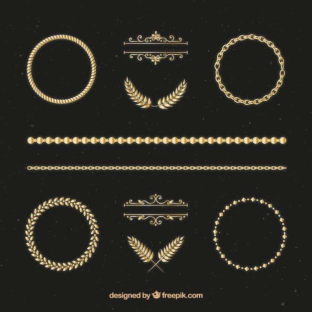 Hand getrokken gouden ornamenten Premium Vector