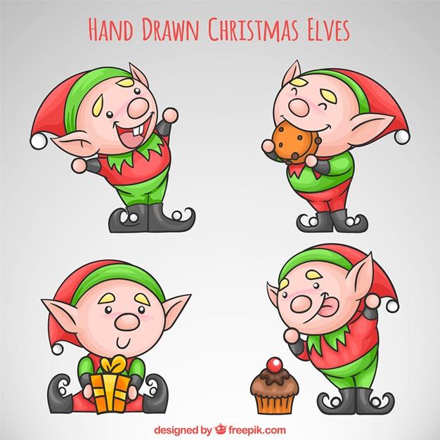 Hand getrokken grappige kerstmis elfen Gratis Vector