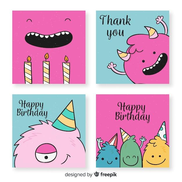Hand getrokken grappige verjaardagskaart collectie Gratis Vector
