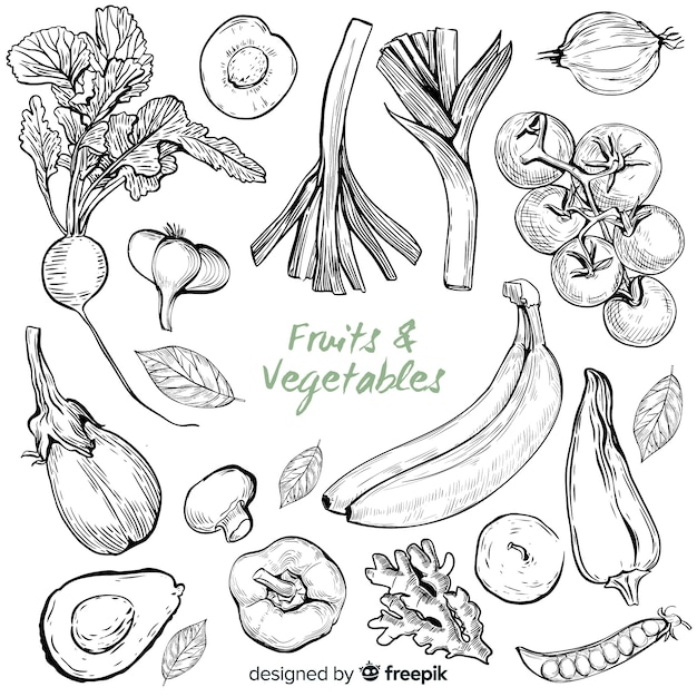 Hand getrokken groenten en fruit Gratis Vector