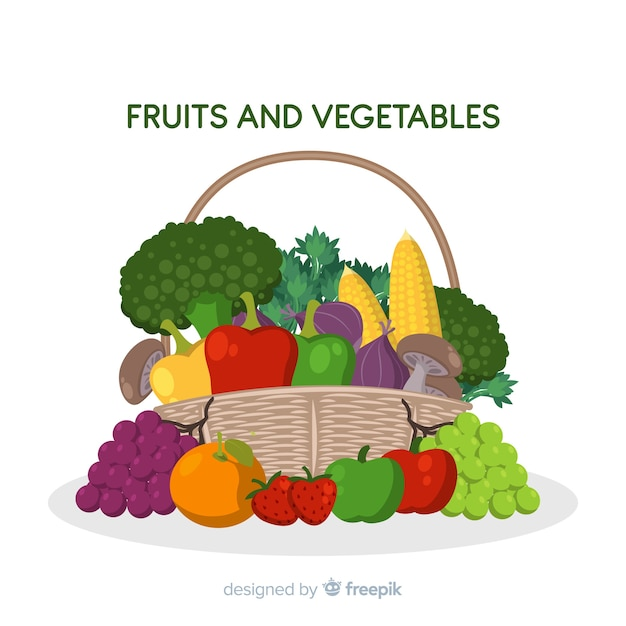 Hand getrokken groenten en fruitmand Gratis Vector