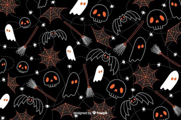 Hand getrokken halloween-achtergrond naadloze patroontextuur Gratis Vector