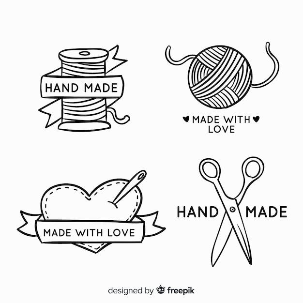 Hand getrokken hand gemaakt logo Gratis Vector