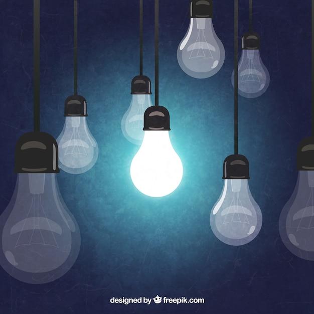 Hand getrokken hangende lampen Gratis Vector