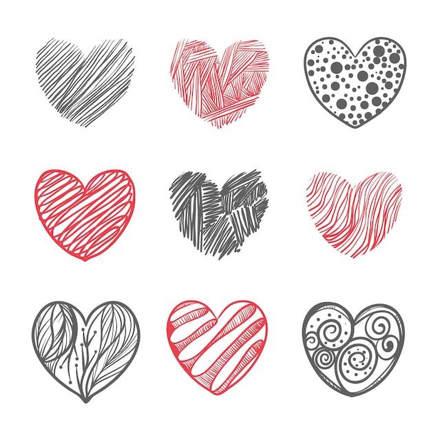 Hand getrokken hart illustratie set Gratis Vector