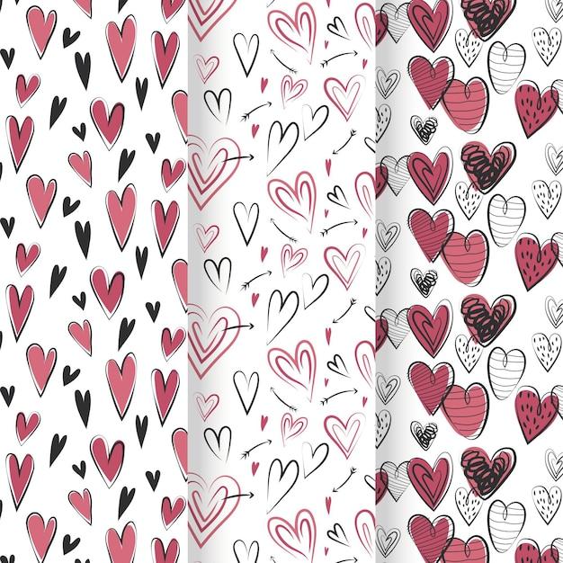 Hand getrokken hart patroon collectie Gratis Vector