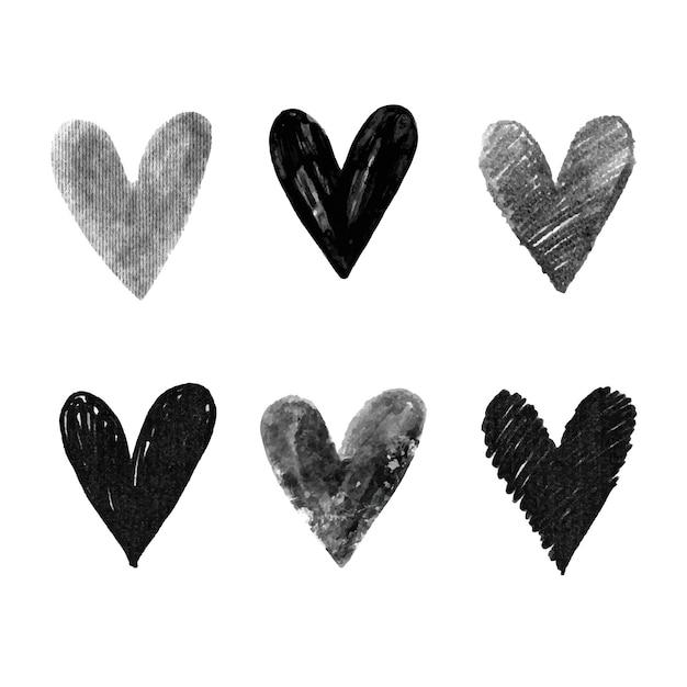 Hand getrokken hart set Gratis Vector