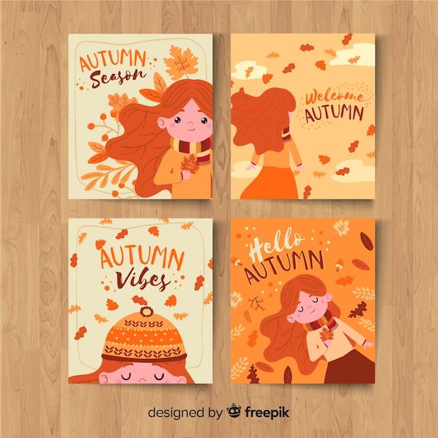 Hand getrokken herfst kaartsjabloon collectie Gratis Vector