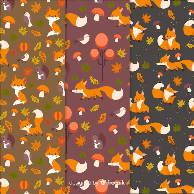 Hand getrokken herfst patroon collectie Gratis Vector