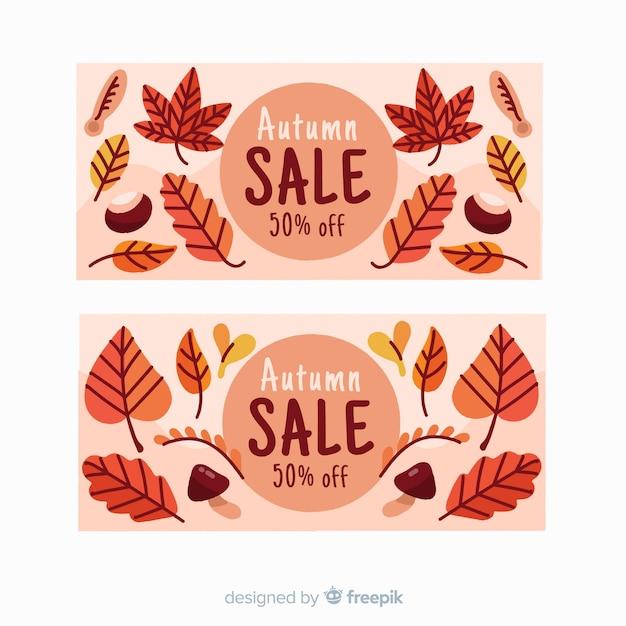 Hand getrokken herfst verkoop banner Gratis Vector
