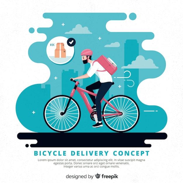 Hand getrokken het conceptenillustratie van de fietslevering Gratis Vector