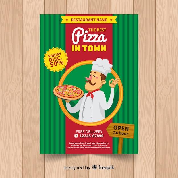 Hand getrokken het restaurantvlieger van de chef-kokpizza Gratis Vector