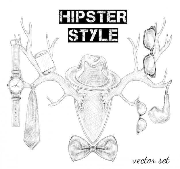 Hand getrokken hipster stijl accessoire set Gratis Vector