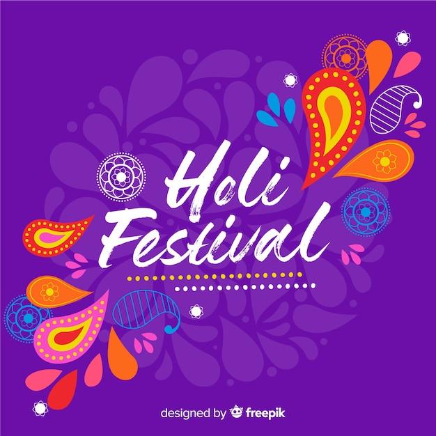 Hand getrokken holi festival achtergrond Gratis Vector