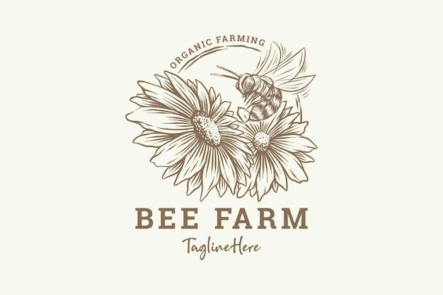 Hand getrokken honingbij met bloemen Premium Vector