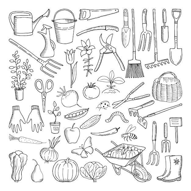 Hand getrokken hulpmiddelen voor de landbouw en tuinieren. doodle van de natuuromgeving Premium Vector