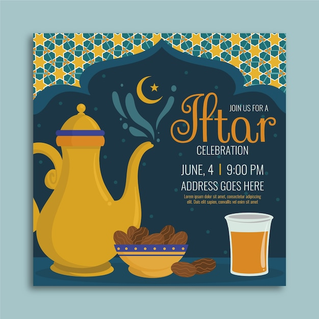 Hand getrokken iftar uitnodigingssjabloon Gratis Vector