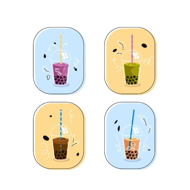 Hand getrokken illustratie bubble tea smaken instellen Premium Vector