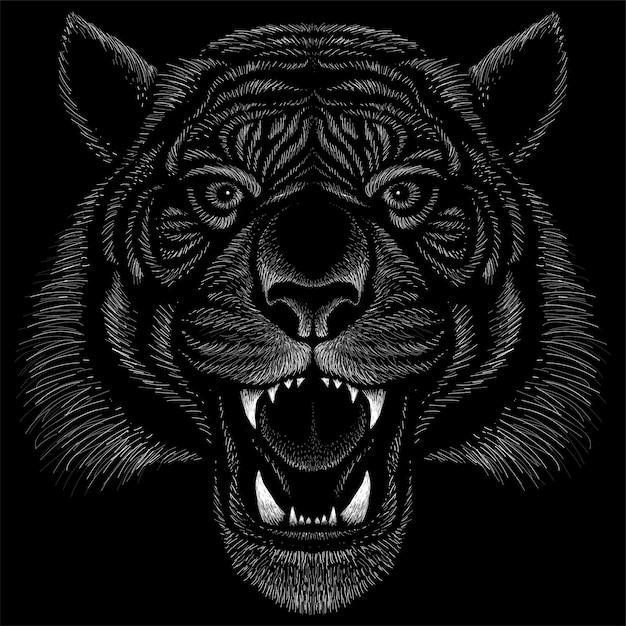 Hand getrokken illustratie in krijtstijl van tijger Premium Vector