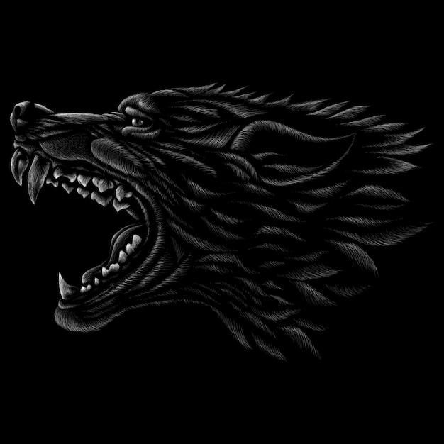 Hand getrokken illustratie in krijtstijl van wolf Premium Vector