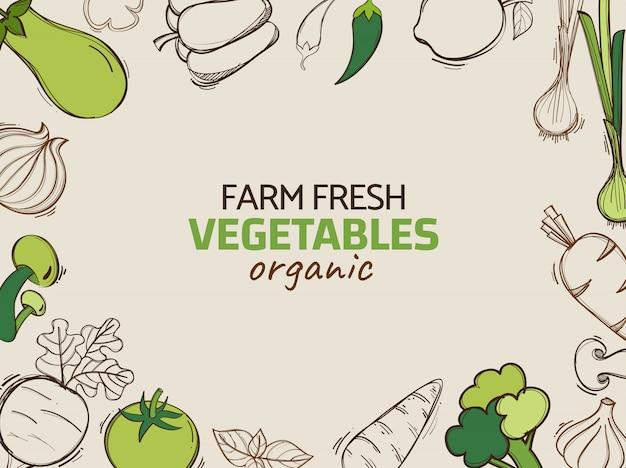 Hand getrokken illustratie met vector biologische groenten Premium Vector