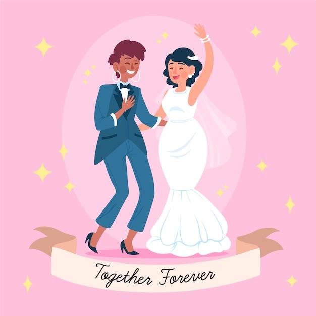 Hand getrokken illustratie van mooie bruiden Gratis Vector