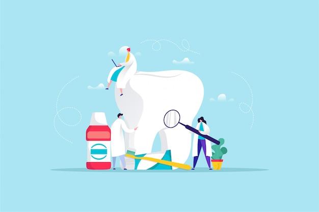 Hand getrokken illustratie van tandheelkundige zorg Premium Vector