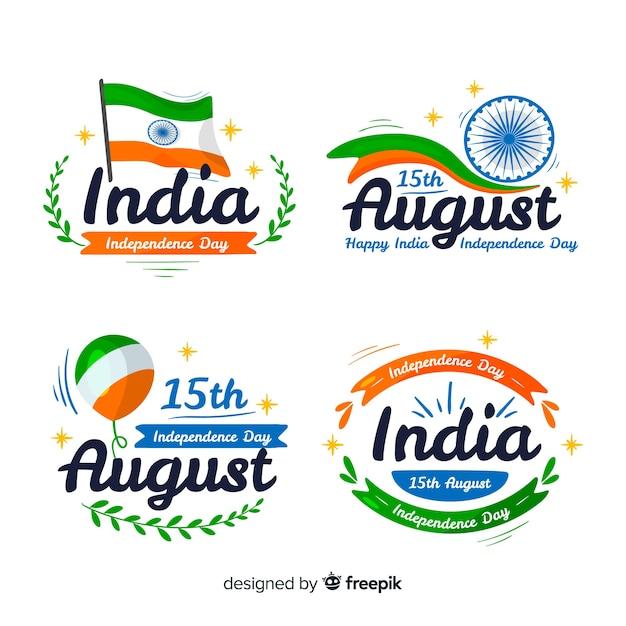 Hand getrokken india onafhankelijkheidsdag kenteken collectie Gratis Vector