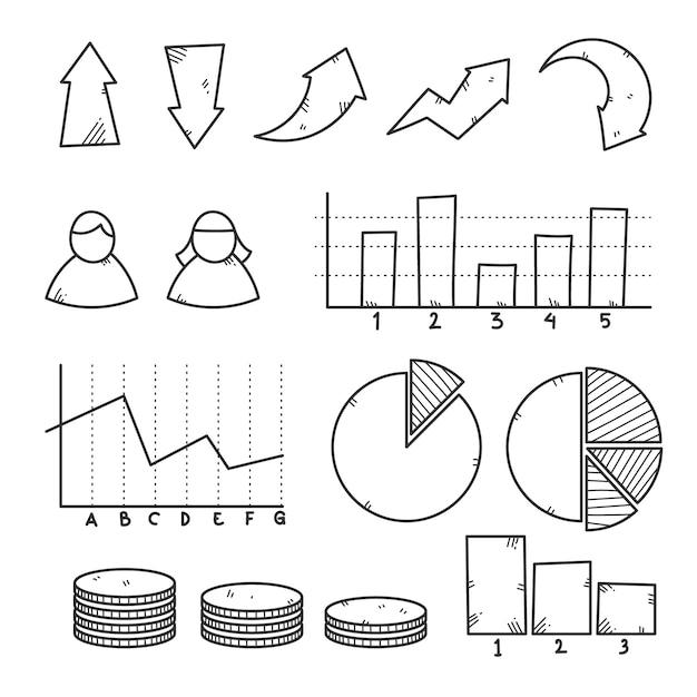 Hand getrokken infographic elementenverzameling Gratis Vector