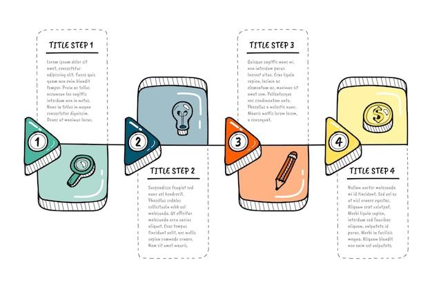 Hand getrokken infographic stappen Gratis Vector