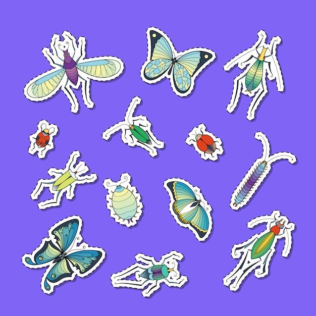 Hand getrokken insecten stickers set illustratie Premium Vector