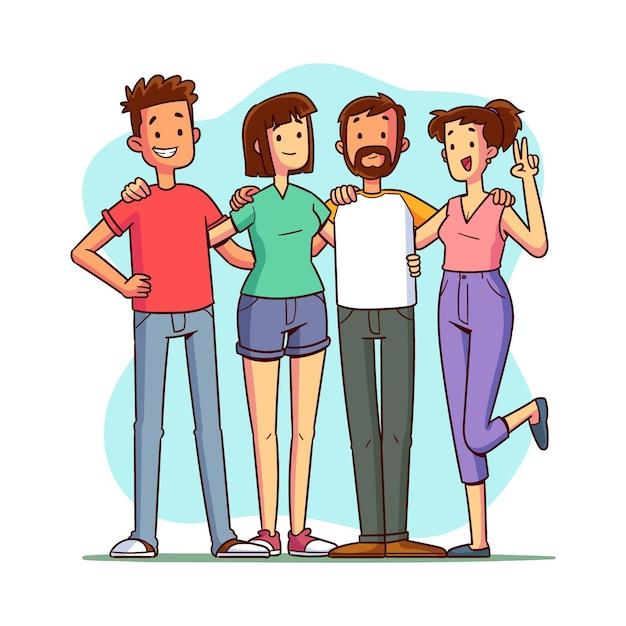 Hand getrokken jeugddag - mensen samen knuffelen Gratis Vector