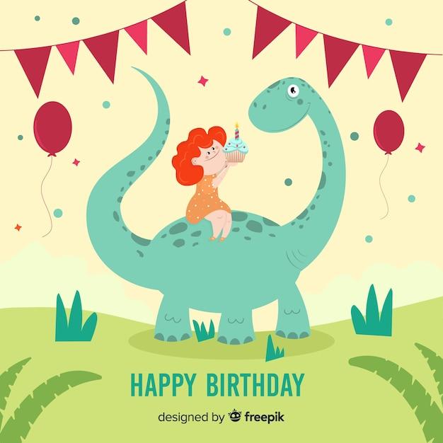 Hand getrokken jongen die een achtergrond van de dinosaurusverjaardag berijdt Gratis Vector