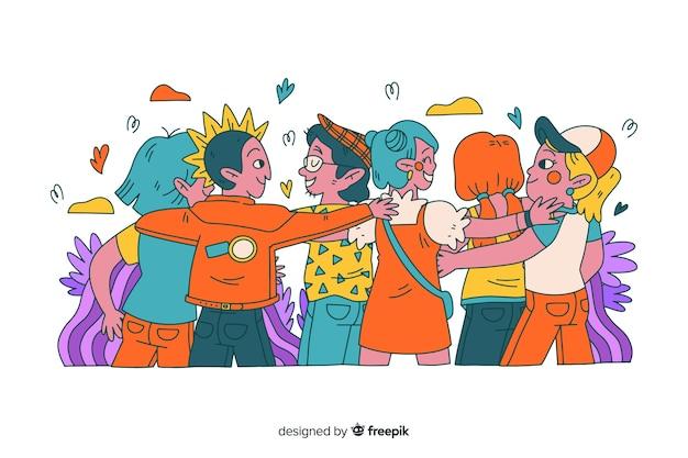 Hand getrokken jongeren knuffelen samen Gratis Vector