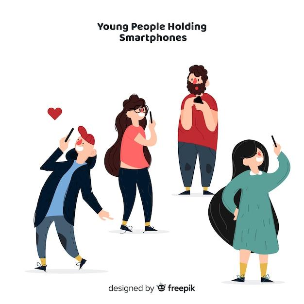 Hand getrokken jongeren met behulp van smartphone set Gratis Vector