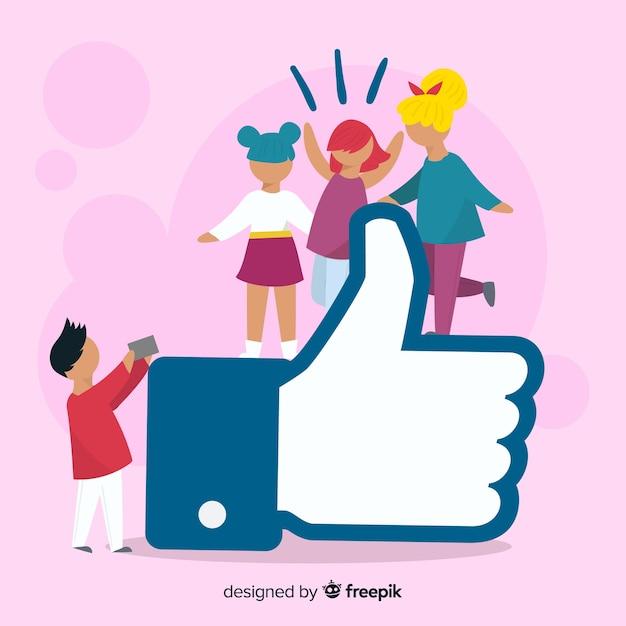 Hand getrokken jongeren sociale media zoals conceptenachtergrond Gratis Vector