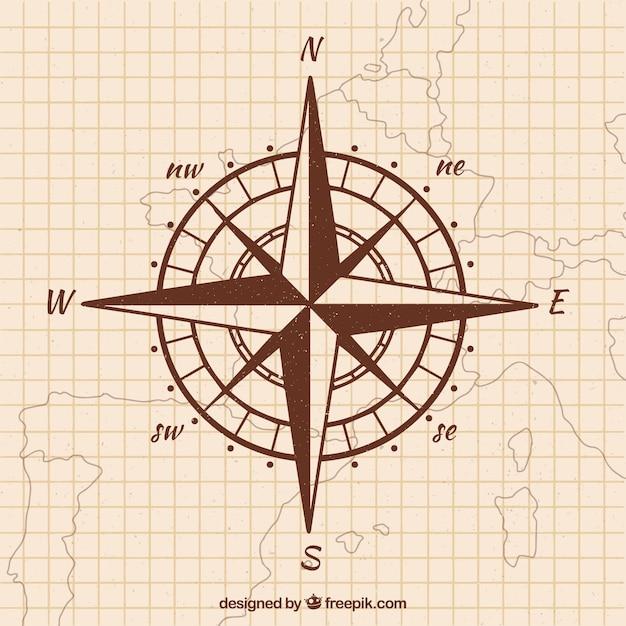 Hand getrokken kaart kompas achtergrond Gratis Vector