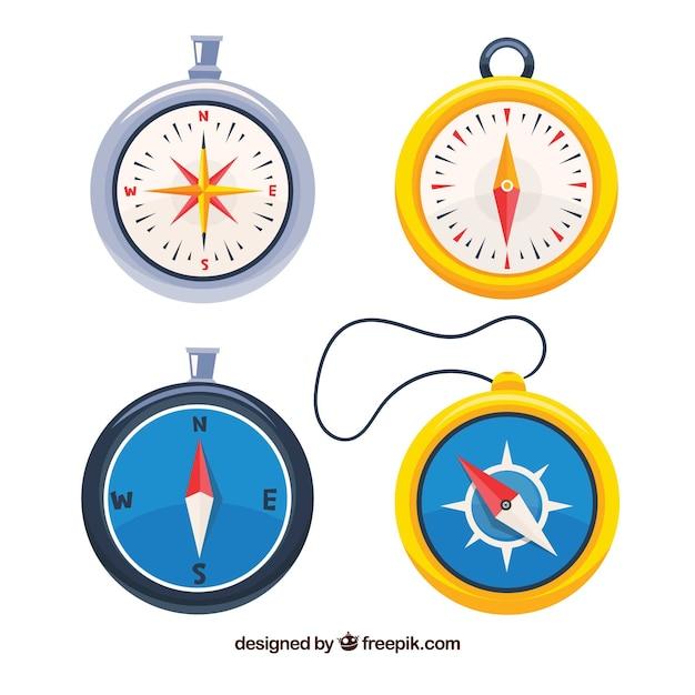 Hand getrokken kaart kompas collectie Gratis Vector